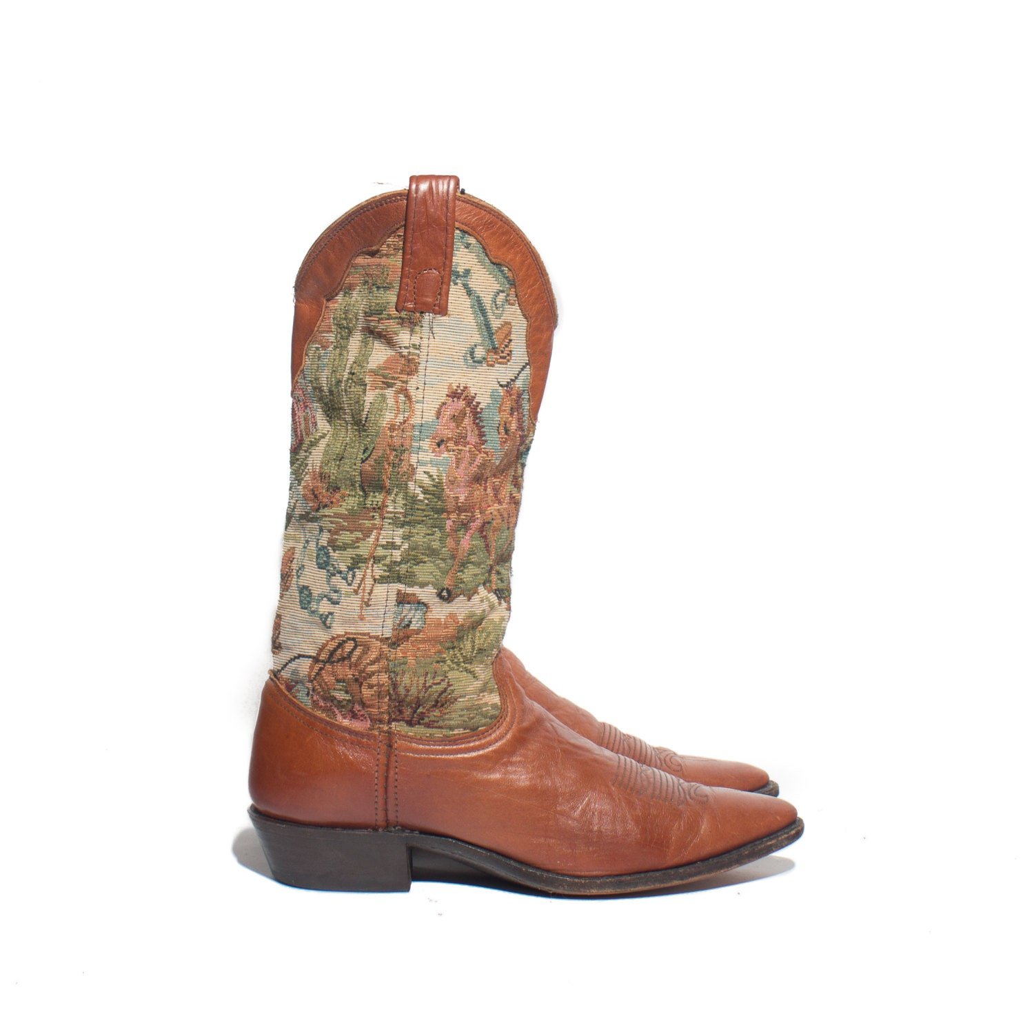 9 m dan post tapestry boots brown western cowboy boots