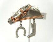 Vintage Silvertone Brushed Metal Horse Brooch with Copper Bridle and Horseshoe and Boot Charms, Vintage Horse Pin with Dangling Charms