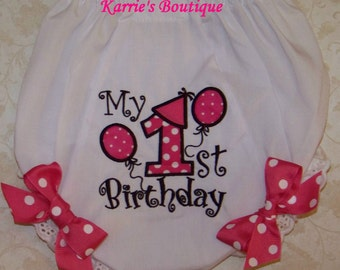 1st Birthday Diaper Cover / Hot Pink / Bloomers / Photo Prop / Newborn / Infant / Baby / Girl / Toddler / Custom Boutique Clothing