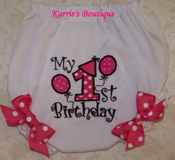 1st Birthday Diaper Cover / Hot Pink / Bloomers / Photo Prop