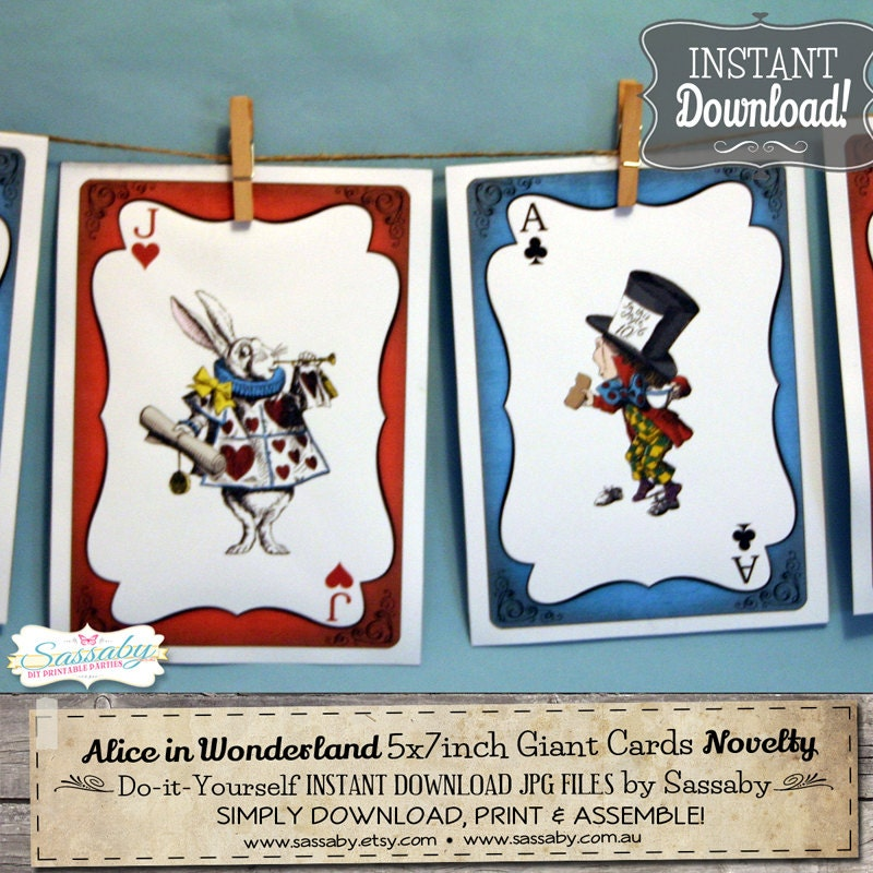 Alice In Wonderland Giant Cards INSTANT By SassabyParties