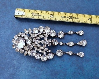 Rare Massive Roger SCEMAMA or Roger JEAN PIERRE Dazzling Crystal Rhinestone Fur Clip Brooch Depose Made in France for Dior Balenciaga Y.S.L