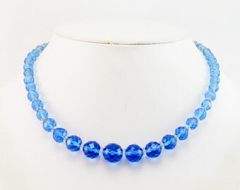 Authentic Vintage ART DECO Blue and Clear Faceted Cut Crystal Necklace Really OLD Stunning Beauty!
