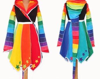 STARRY Rainbow* Fleece knee length Tournedot Jacket with pixie hem(PH4).24 stripe ultimate pixie hood/12 stripe sidhe sleeves