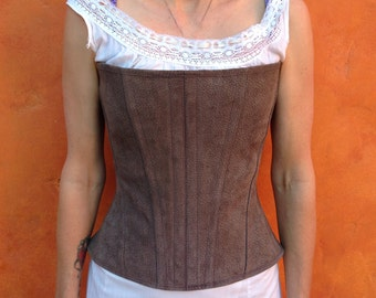 Leather Suede boned Overbust Corset Waist Cincher Viking Renaissance LARP Elizabethan brown