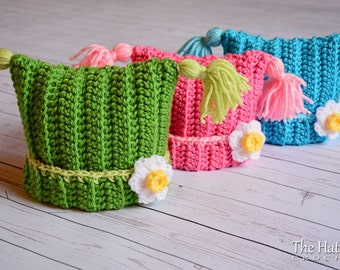 CROCHET PATTERN - Winter Whimsy - crochet hat pattern, square hat pattern, winter hat pattern (Infant - Adult sizes) - Instant PDF Download