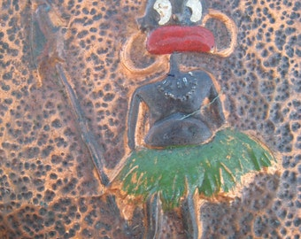 SALE Vintage Copper Embossed Sheets with Cartoon Zulu Politically Incorrect Image