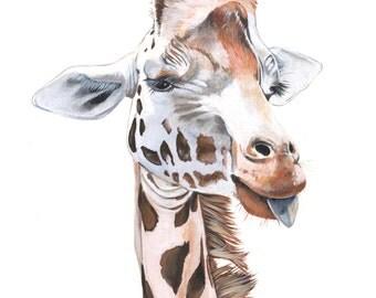 Giraffe painting print, GT2014, A4 size print, giraffe acrylic painting print, african animal print, giraffe print