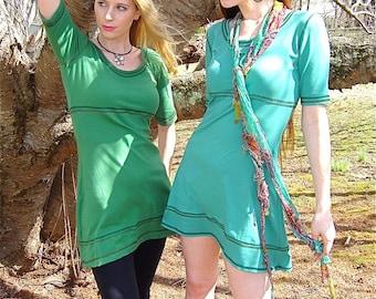 Jackie O Mod Sixties Mini Dress / Scoop Neck, Empire Waist, Short Sleeve, A-Line Tunic, Custom Color / Spring, Summer, Color Block