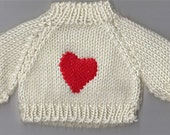 Valentine White Knit Sweater for 12 to 14 Inch Bear, Doll or Stuffed Animal