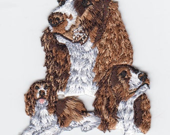 Trio Springer Spaniels  Iron On Embroidered Applique Patch