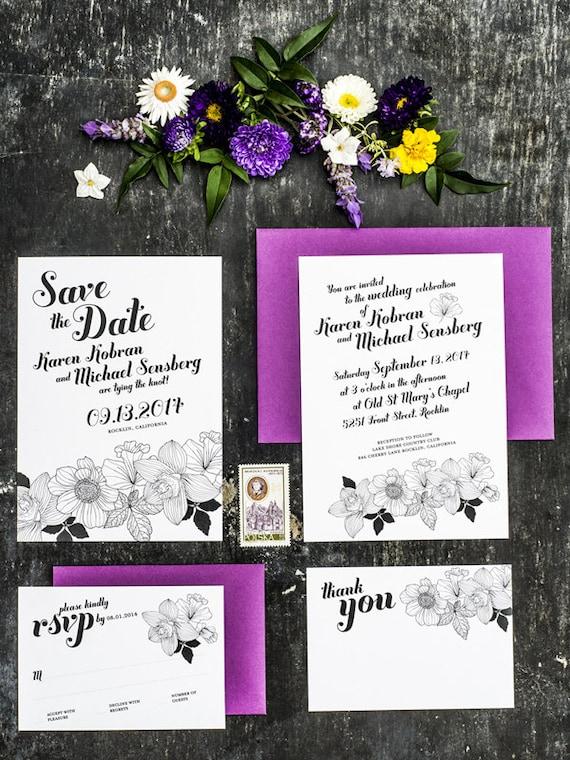 Elegant Black and White Wedding Invitation Set of 4 - Printable