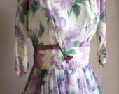 1950s 1960s --- Vintage Rose & Lilac Party Dress --- M/L