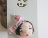 Frida doll face brooch handmade in polymer clay ooak