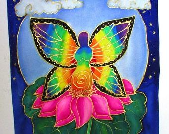 Goddess art, silk wall hanging, spiritual gift,Goddess of Transformation, goddess art, butterfly art, lotus art, pagan, wiccan, meditation
