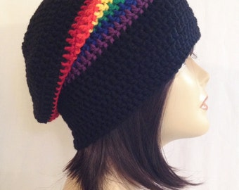 long slouch,beanie,slouch beani,cap,hat, hand crochet unisex, black & rainbow, fits teens and adult size fits 21-23 inches