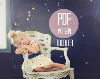 Easy Toddler Skirt Pattern Sewing PDF Pattern for Girls Vintage Skirt High Waist Skirt Sizes 18-24 months, 2T, 3T Beginner Skirt Sew Project