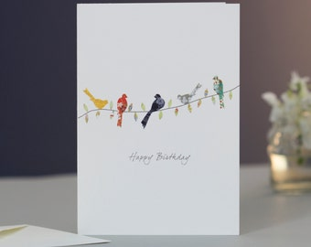 Birds on a Twig Birthday Card