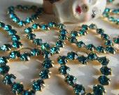Vintage Swarovski Blue Zircon Rhinestone Hearts