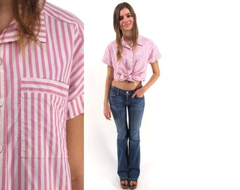 Vintage 80s Stripe Shirt, Knit, Cotton Top, Pink Stripe Blouse, Candy Striped Top, Button Up, Collared Top Δ size: xs / sm