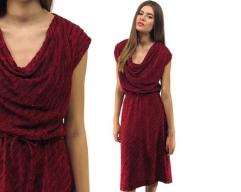 70s Velvet Dress, Cowl Neck Dress, Chevron Dress, Boho Dress, Drape Dress Δ size: sm / md