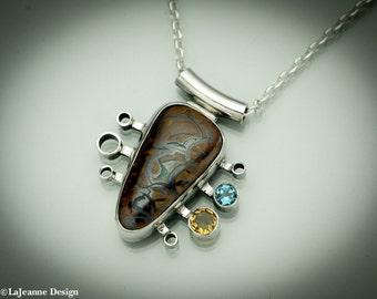 Rhapsody - Australian Boulder Opal Sterling Silver Necklace