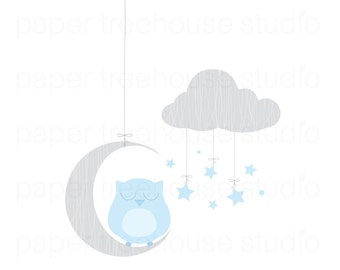 Clip Art Set - Owl, Moon and Stars - Blue and Gray Print - 5 Print Ready Files - JPG and PNG Format - ID 250