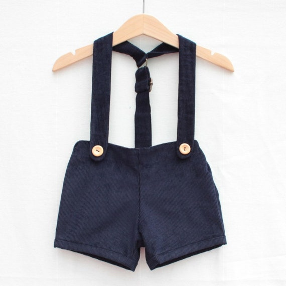 Baby retro short with braces | Navy cord