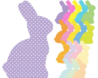easter clip art clipart digital bunny bunnies - Polka Dot Bunnies Digital Clip Art