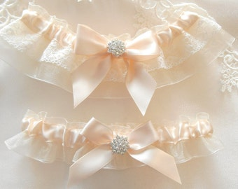 Wedding Garter Set Vintage LACE Trim Satin and 14 Organza COLORS Vintage Style Pearl and Rhinestone setting Beautiful
