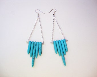 Turquoise howlite tribal spike earrings silver wire and chain