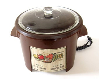 Regal Poly Pot Slow Cooker #7533 PolyPot Crockpot Brown Made in USA (as-is, with scratches inside)
