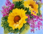 SALE Original oil painting:  Sunflower Painting, colorful cheerful spring, floral, still life,