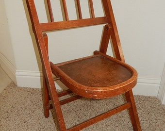 vintage wood folding chair etsy
