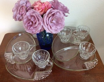 1960s snack set-Matching Plates Tea Cups-Serving glass set-Tea party glassware-Swirl design-mid century kitchen-Serving Trays- Glass Snack