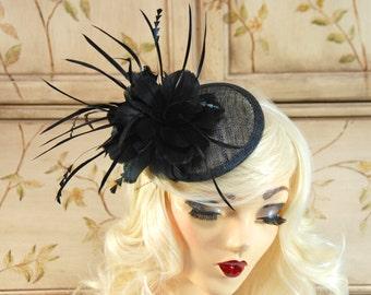 Black Fascinator Hat with Feathers - Tea Party Hat - Wedding Fascinator - British Fascinate - Kentucky Derby Hat