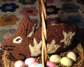 Hand Hooked Wool Daffodil Bunny Pillow  Shelf Tuck