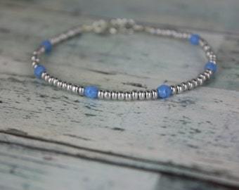 Silver/Blue Beaded Bracelet