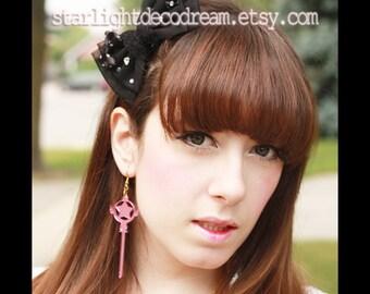 Cardcaptor Sakura Clow Wand Inspired Acrylic Earrings for Mahou Kei, Magical Girl Fashion