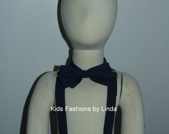 Adjustable Navy  Boy Suspenders and Bow Tie