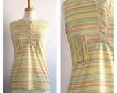 Vintage 1970's Jantzen Red Yellow Green Striped Sleeveless Pocket Tunic M
