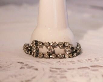 Vintage Silver Tone Rhinestone Fashion Bracelet