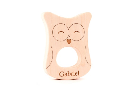 organic owl wood TEETHER - a natural wooden teething toy for boy or girl, woodland-themed shower gift, earth friendly and heirloom quality
