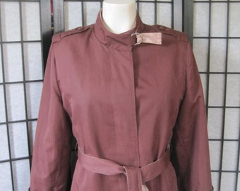 Vintage 1960s 1970s Trench Coat Spring by Misty Harbor Rust Dark Brick Red Cloth 40 Petite Extra Large L XL Mod Outerwear Mariner III