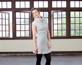 Cotton sweater dress, Chunky cowl dress, Stretchy eco dress, Grey cotton dress, Winter sweater dress, Casual cotton dress