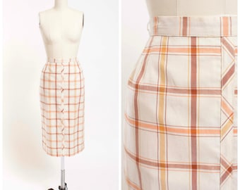 1950s Vintage Skirt Neutral Plaid Cotton 50s Vintage Pencil Skirt Size Small