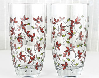 Hand Painted Glasses, Red Tulips Design, Tumblers, Everyday Water Glasses, Set of 2, Drinking Glasses, Floral Iced Tea Glasses
