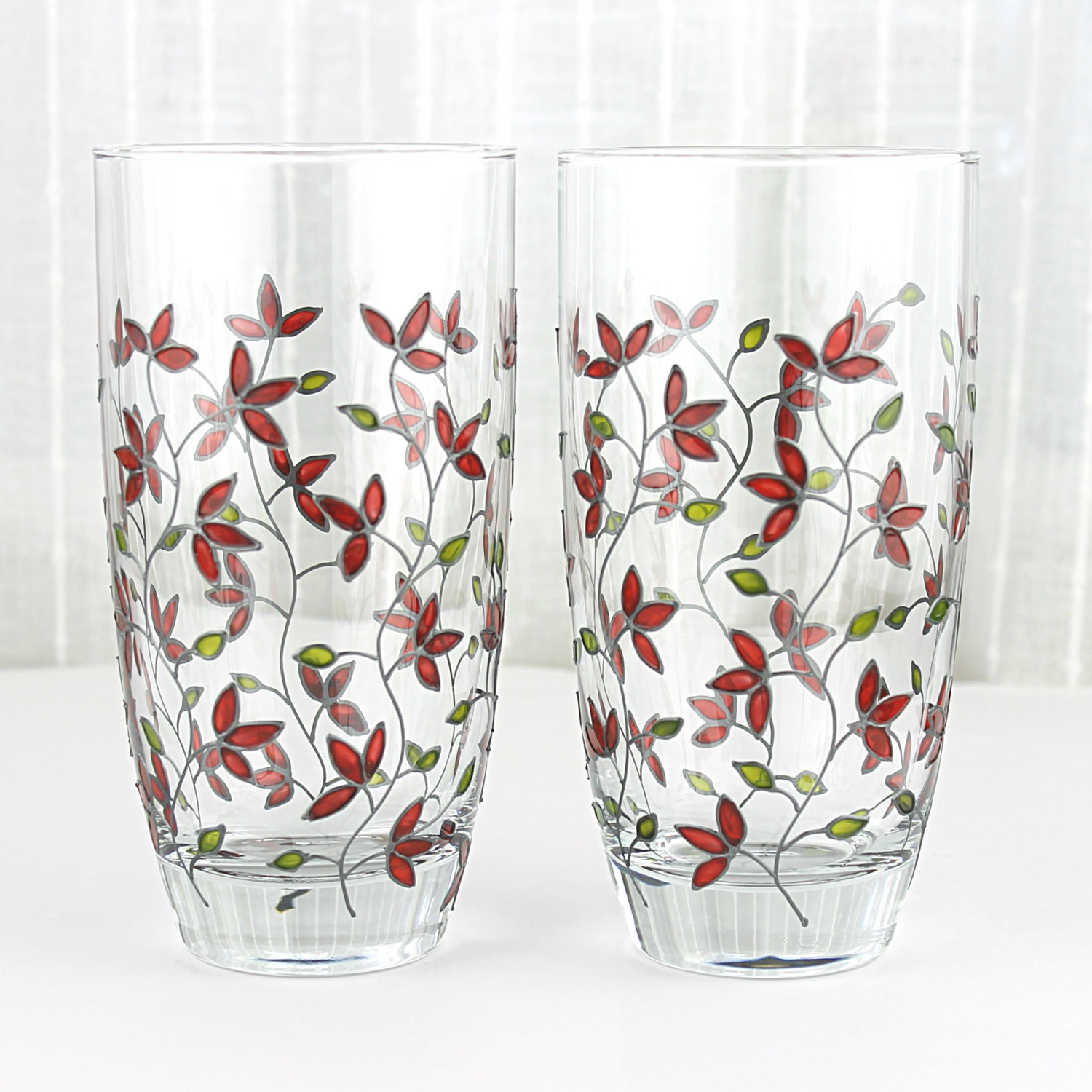 Hand painted glasses red tulips design tumblers everyday for Hand painted drinking glasses