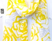 Silk Scarf Handpainted, Holiday gift for her, Anniversary gift, Birthday Gift, Mango Yellow Roses Scarf, Yellow Silk Scarf, 11x60 inches.