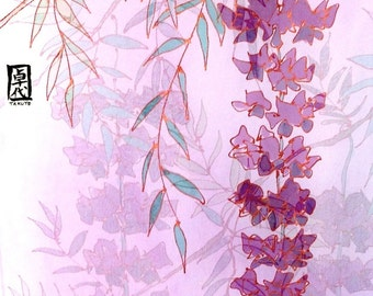 Large Silk Scarf Handpainted, Japanese Wisterias Scarf, Purple Silk Scarf, Silk Chiffon Scarf, Silk Scarves Takuyo, Approx 14x72 inches.